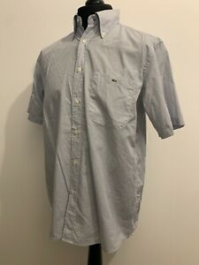 Lacoste Mens Blue Black White Fine Check Short Sleeve Shirt Size 42 L Xl F1582 Ebay