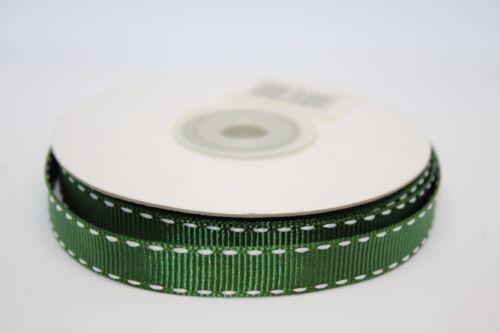 GROS-GRAIN BLANC Saddle Stitch Ruban 10 mm x 10 m-Choisir Votre Couleur