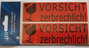 50 St/ück Aufkleber Etikett Vorsicht Zerbrechlich Paket Karton Vorsicht Glas