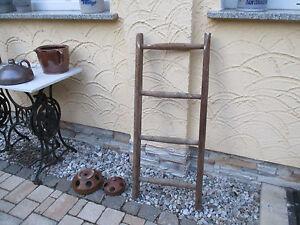 alte-Holzleiter-103-Deco-Blumenampel-Baumleiter-Handtuchhalter-Kleiderhalter