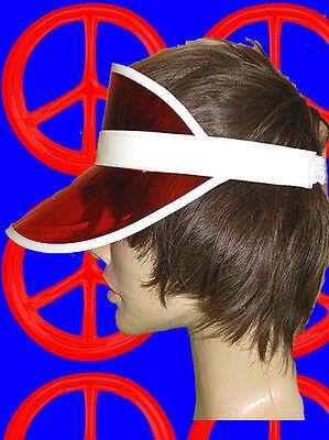 A259✪ 80er Jahre Neon Visor Sonnenschutz Ndw Unisex Roller Skates Tennis Rot