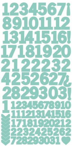 Sea Green Number Stickers Kaisercraft K Style