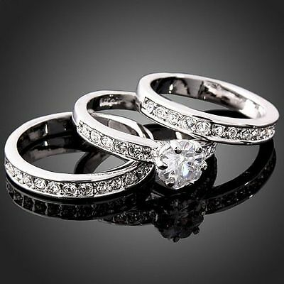 3in1 Fashion Crystal CZ White Gold Plated GP Engagement Wedding Band Rings