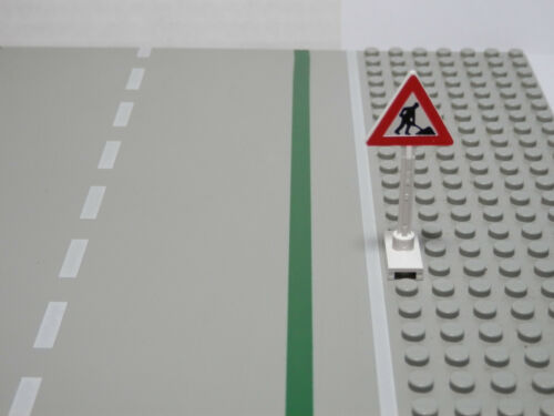 LEGOS White Road Sign Triangle Worker and 1 Pile Pattern  Classic Town  Traffic