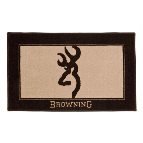 Browning Buckmark Original Tan//Brown 1 Bath Mat Skid Resistant Backing Deer Logo