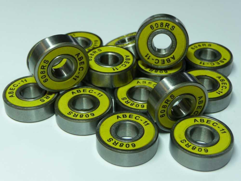 16xABEC11-Kugellager 608-2RS.ABEC11- silber/gelb - ... 8x22x7mm .... NEU