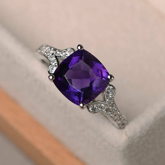 2.95 Carat Genuine Amethyst Real Diamond Ring 14K Solid White gold Size 5.5 6 7