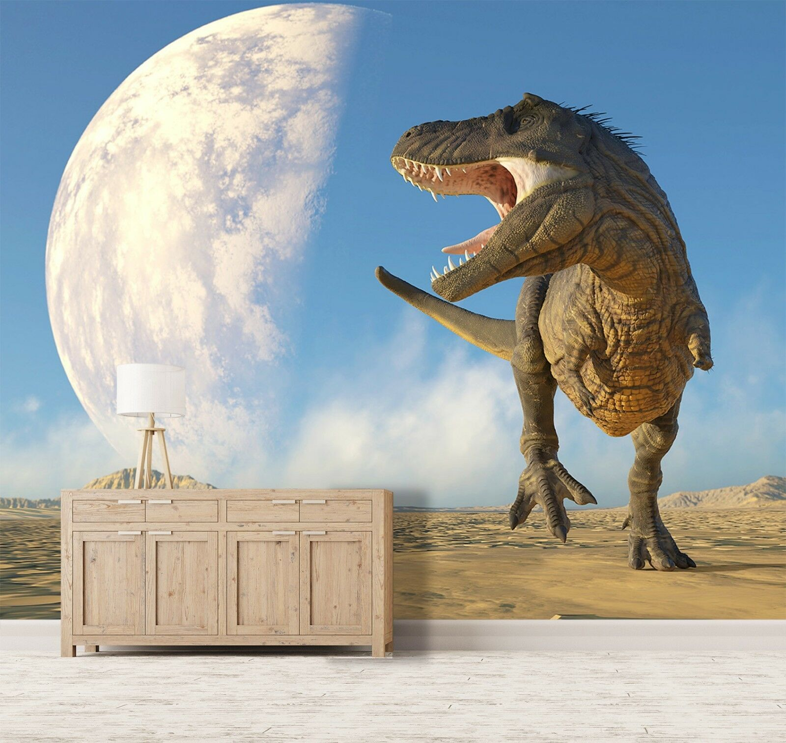 3D Moon Desert Dinosaur 8 Wallpaper Mural Print Wall Indoor Wallpaper Murals UK