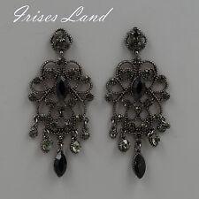 Alloy Black Crystal Rhinestone Drop Chandelier Dangle Earrings 06194