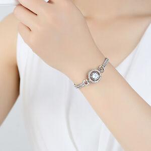 Hot-Sale-18K-Rose-Gold-Plated-Crystal-Charm-Women-Cuff-Bangle-Chain-Bracelet