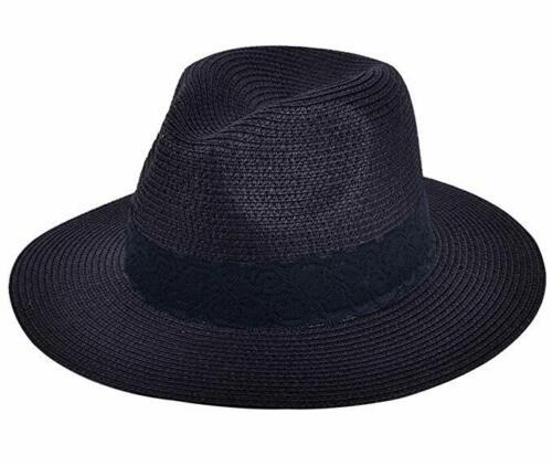Lanzom Women Wide Brim Straw Panama Roll up Hat Fedora Beach Sun UPF50+