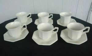 6 johnson bros brothers heritage white tea cups & saucers tea set UNUSED