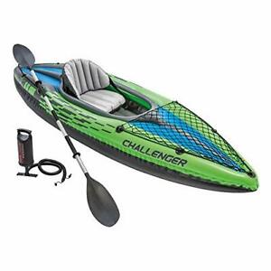 1-Person Inflatable Kayak Set with Aluminum Oars and High Output Air Pump