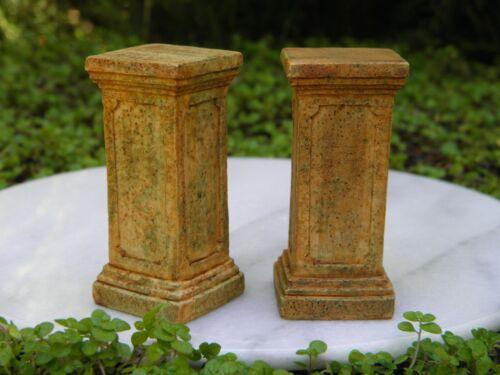 Miniature Dollhouse FAIRY GARDEN Accessories ~ Set of 2 Aged Resin Pedestals