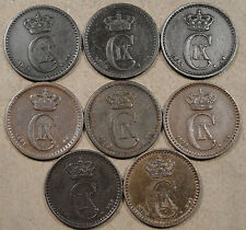 Denmark 8 One ore 1874,75,83,88,89,91,94,+1904 most better circulated grades