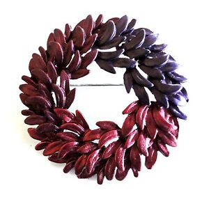 Holiday-Circle-Brooch-Wreath-Pin-Silver-Plated-Red-Enamel-Leaf-Christmas-Gift