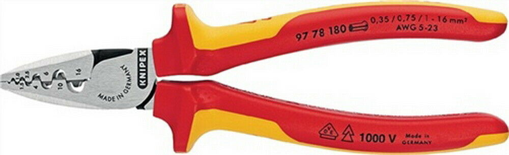 Aderendhülsenzange L.180mm 0,25-16,0mm² (AWG 23-5) Kopf poliert VDE-gepr. Knipex