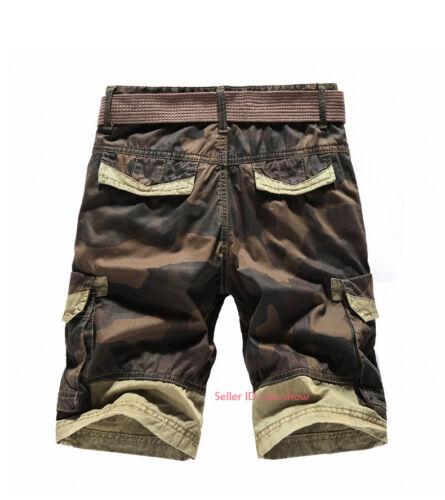 Men's Cotton Cargo Shorts Combat Multi-pocket Casual Half Pants Summer Beach