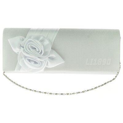 Womens Ladies Satin Floral Pattern Wedding Party Prom Evening Clutch Bag Handbag
