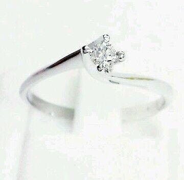 Anello Solitario Valentino Diamante Naturale  0,11 ct Oro 18 Promessa matrimonio