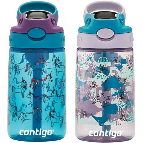 Contigo Kid/'s 14 oz AutoSpout Straw Water Bottle with Easy-Clean Lid 2-Pack