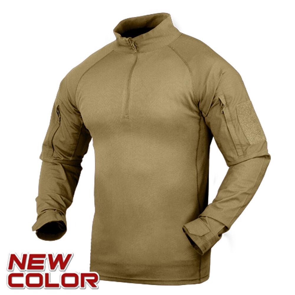 Condor 101065-003 Moisture Breathable Tactical 1 4 Zip Combat Shirt - Tan