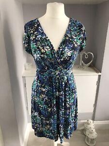 Fat Face Blue Flower Knee Length A-line Jersey Dress Size 16