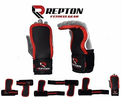 REPTON Weight Lifting Palm Gel Pad Hand Grips Wrist Support Straps//Gloves