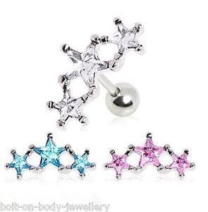 Triple-Estrella-De-Gemas-Tragus-Cartilago-Helice-Barra-Oreja-Pendiente-6-mm-x