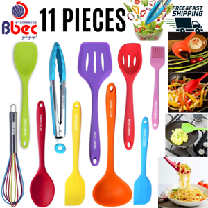 Details about Colored Kitchen Set Cooking Silicone Utensils 11 Pieces  Nonstick Cookware Tools