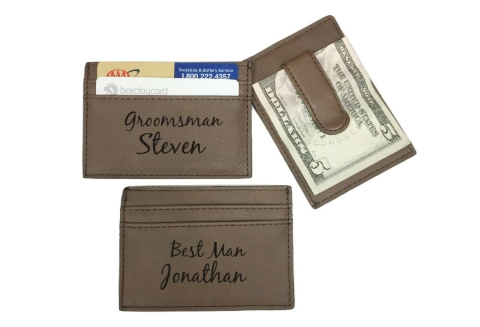 5 Personalized Engraved Leather Money Clip marron Groomsman Best Man Usher Gift