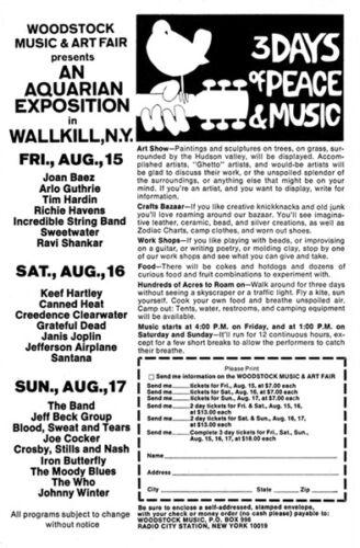 "1969 Woodstock Ad  Replica 13 x 19/"" Photo Print"