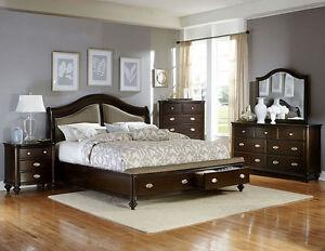 Details about 4 PC CONTEMPORARY DARK CHERRY FINISH QUEEN BED DRESSER MIRROR  BEDROOM SET