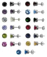 Any Color 925 Sterling Silver Birthstone Round CZ Stud Piercing Earrings