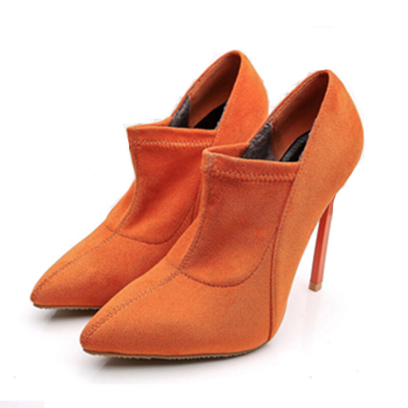Hot WOmens High Heels Stilettos Pointed toe Suede orange Stretchy ANkle Boots