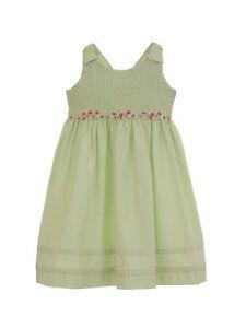 New Baby Girl Hartstrings Green Seersucker Smocked Easter