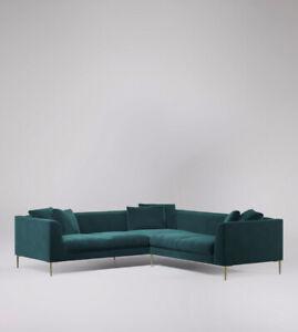 Swoon Alena MTO Modern Kingfisher Easy Velvet Five Seater Sofa - RRP £2159