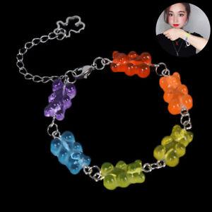 Women-Stainless-Steel-Bangle-Handmade-Cartoon-Candy-Bear-Bracelet-Jewelry-YNFK