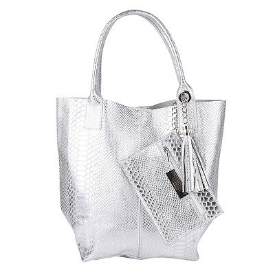 Metallic Quasten Kette Fransen Tasche Leder Silber Shopper Borse in Pelle Kroko
