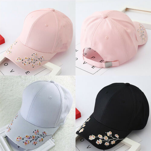Baseball Cap Ladies Snapback Cap Hat Women Embroidered Cherry blossoms Hat PDH