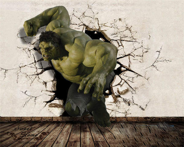 3D Big Hulk Break Out Wall Wallpaper Full Wall Mural Photo Printed Home Deco Kid