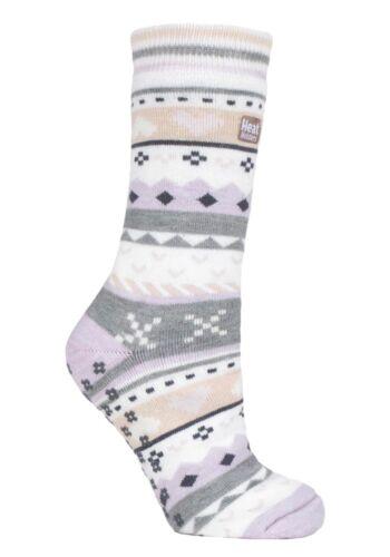Heat Holders Ladies Fairisle Winter Non Slip Thermal Slipper Socks with Grips