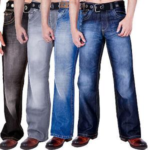 New-Mens-Bootcut-Wide-Leg-Flared-Basic-Denim-Jeans-Belt-Blue-All-Waist-Sizes