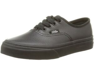 104972ce7b1856 New BABY Vans Authentic Black Leather Sneaker Shoe TODDLER Unisex ...