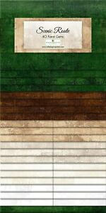 Jelly-Roll-Scenic-Route-40-Strips-Wilmington-Prints-Dups-Greens-Creams-Browns