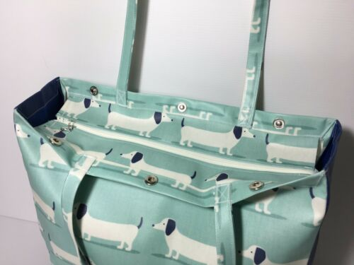 Dachshund Duck Egg//Navy Handmade Cotton Oilcloth Bags By Nikki/'s Original Totes