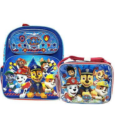 Paw Patrol School Backpack Lunch Box Combo Blue Book Bag Children Kids