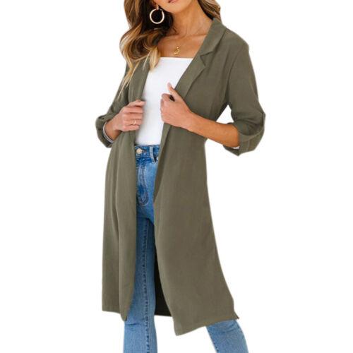 Damen Rollärmel Cardigan Wasserfall Mantel Longshirt Winter Knielang Jacke 38 40