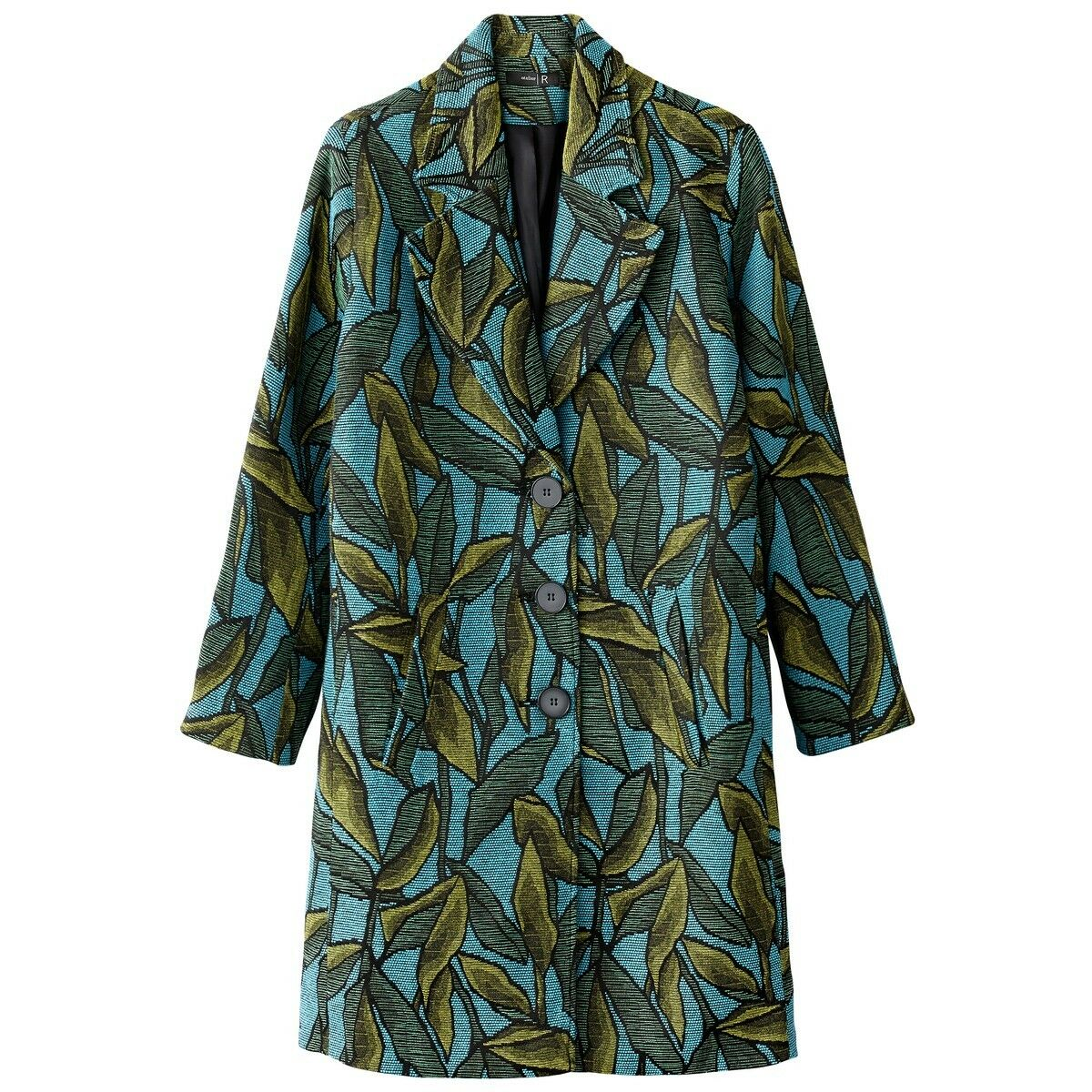 La La La Redoute Collections bluee Jacquard Leaf Print Coat - Size 6 1e3c3e