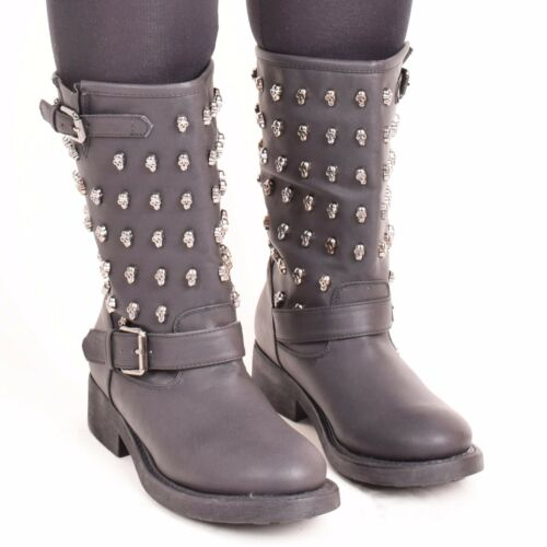 Ladies Womens Studded Biker Flat Ankle Boots Winter Casual Spikes Shoes Size 3-8